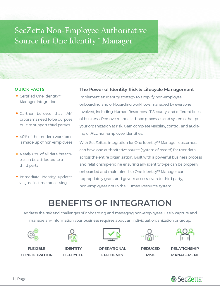 SecZetta Integration for One Identity Manager